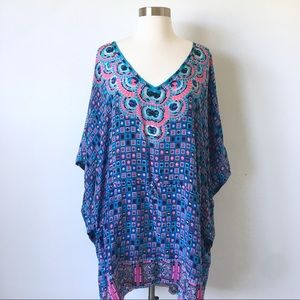 Tolani 100% Silk Flowy Poncho Dress